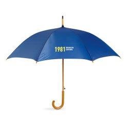 Snel paraplu houten stok bedrukken blauw