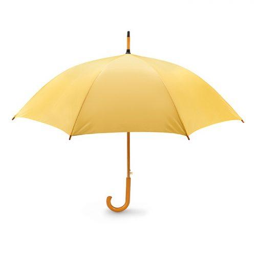 Snel paraplu houten stok bedrukken geel