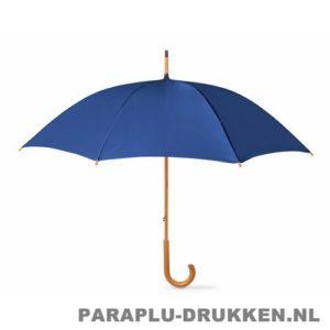 Paraplu bedrukken, snel, houten krul, blauw