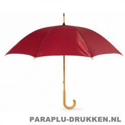 Paraplu bedrukken, snel, houten krul, bordeaux
