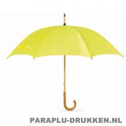 Paraplu bedrukken, snel, houten krul, geel