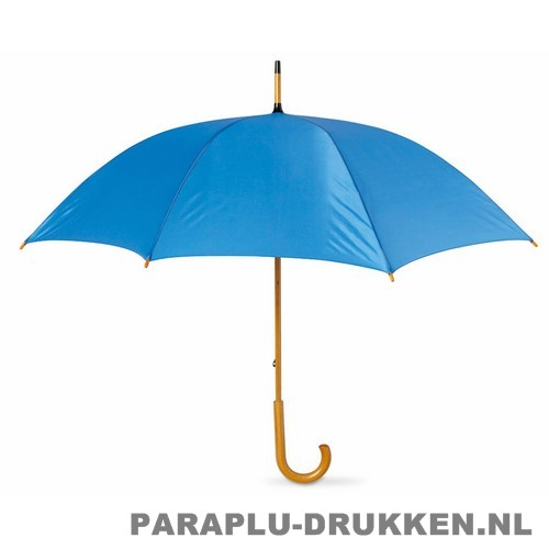 Paraplu bedrukken, snel, houten krul, lichtblauw