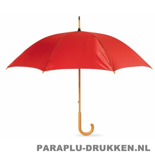 Paraplu bedrukken, snel, houten krul, rood