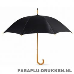 Paraplu bedrukken, snel, houten krul, zwart