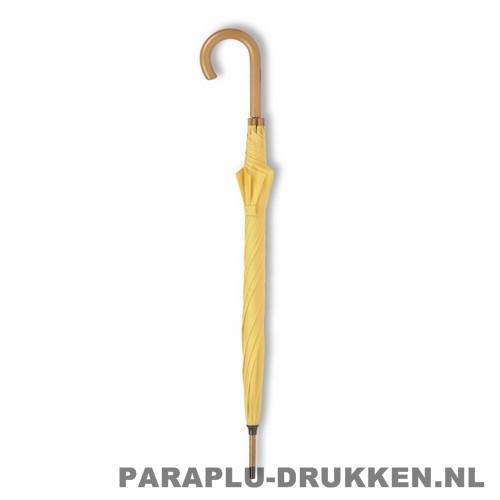 Paraplu bedrukken, snel, houten krul, recht, geel