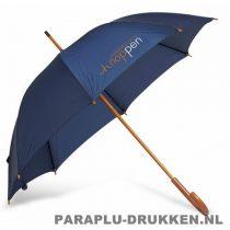 Paraplu bedrukken, snel, houten krul, voorbeeld, blauw