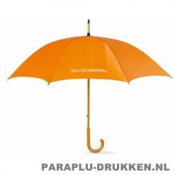 Paraplu bedrukken, snel, houten krul, voorbeeld, oranje