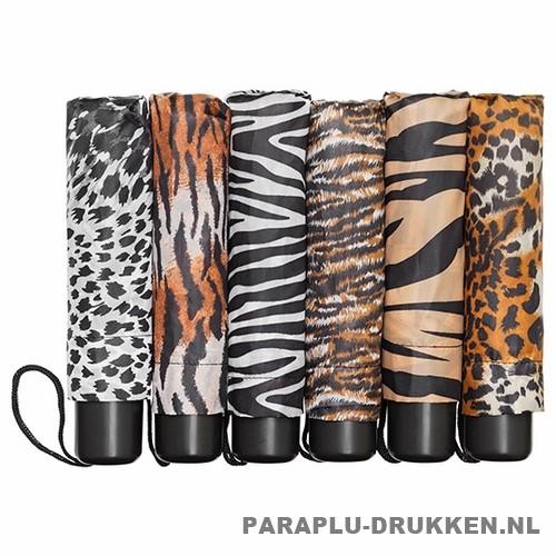Opvouwbare paraplu bedrukken, LF-109-ASS, goedkope paraplu bedrukken, paraplu dierprint, paraplu panter print