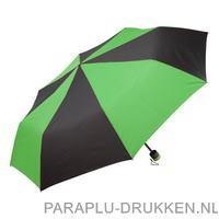 Paraplu goedkoop opvouwbaar bedrukt zwart duo groen