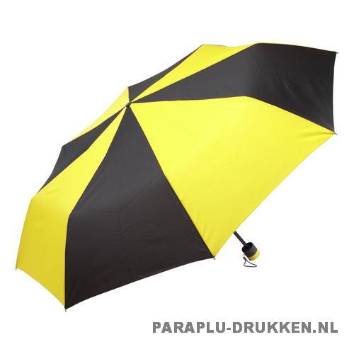 Paraplu goedkoop opvouwbaar zwart duo geel