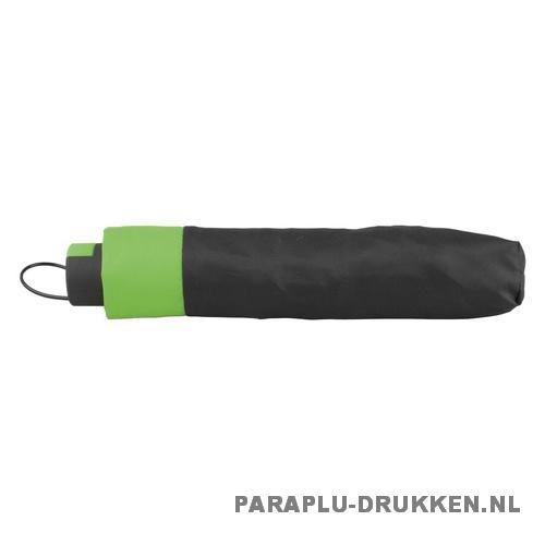 Paraplu goedkoop opvouwbaar zwart duo groen hoes