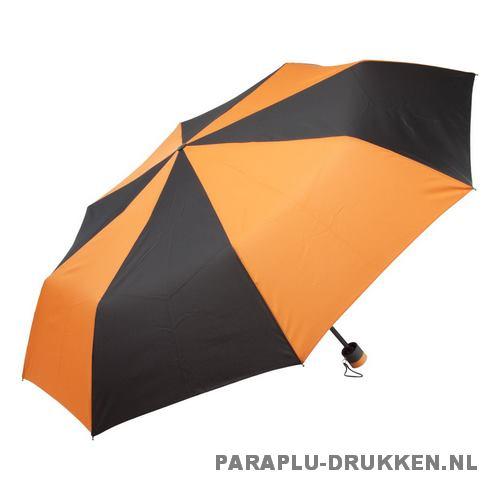 Paraplu goedkoop opvouwbaar zwart duo oranje