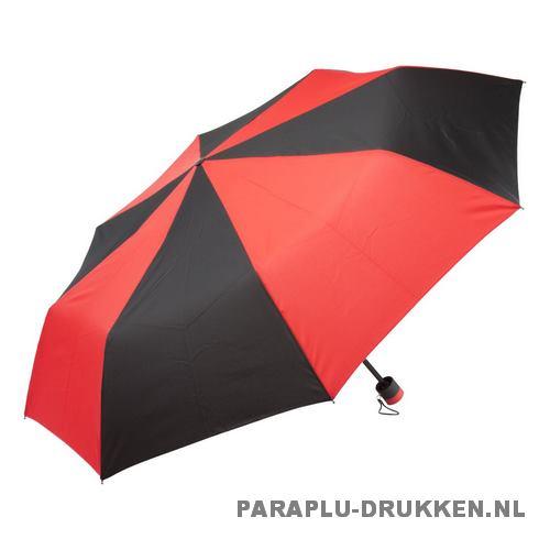 Paraplu goedkoop opvouwbaar zwart duo rood