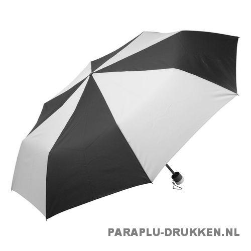 Paraplu goedkoop opvouwbaar zwart duo wit